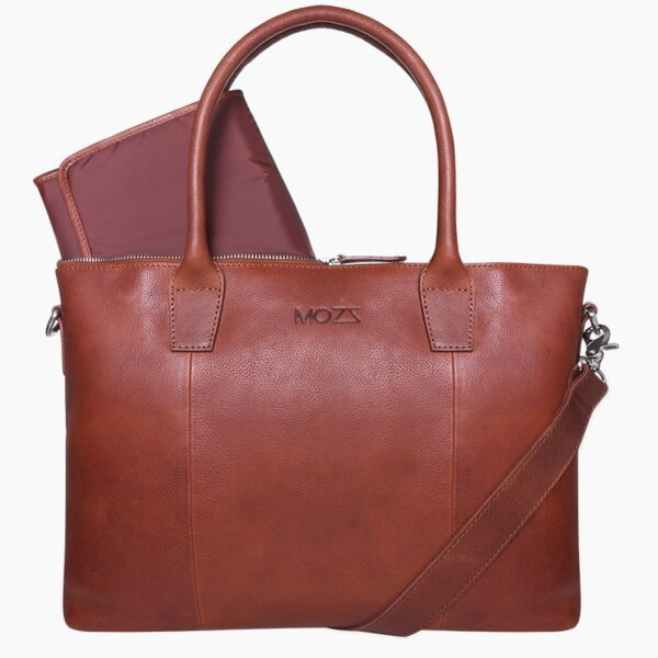Diaper bag cognac leather
