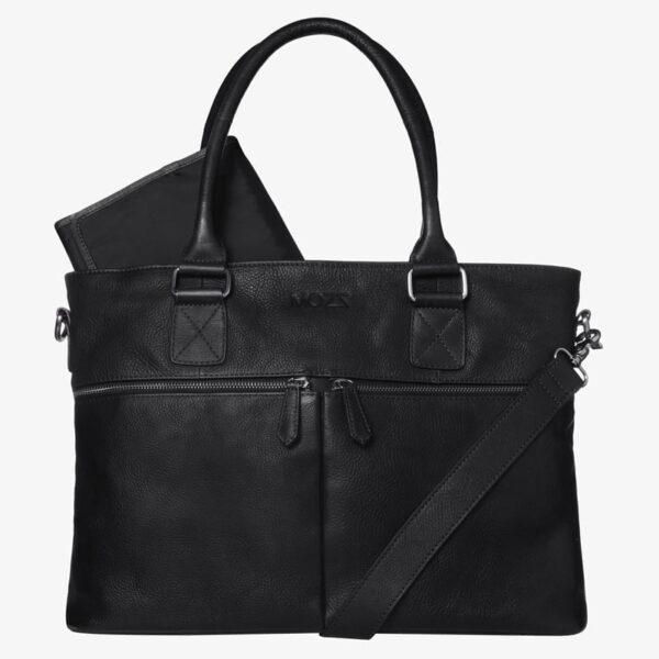 Wickeltasche schwarz Leder