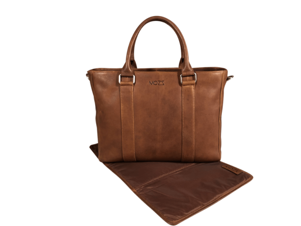 Diaper bag leather cognac