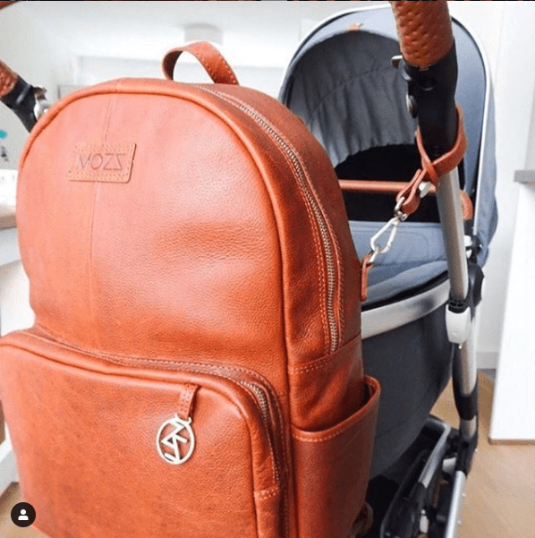 Diaper bag backpack cognac