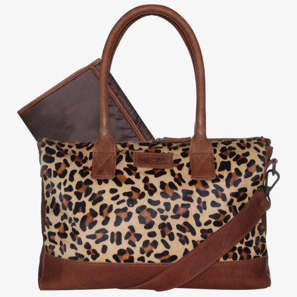 Diaper bag cognac leopard leather