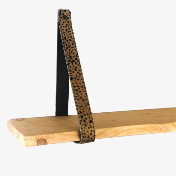 Leren plankendragers baby cheetah beige