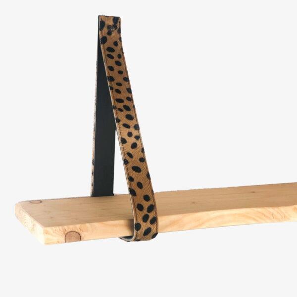 Leren plankendragers cheetah beige