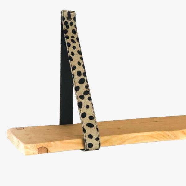 Leren plankendragers cheetah wit