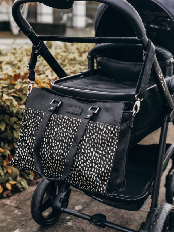 trendy leather diaper bag