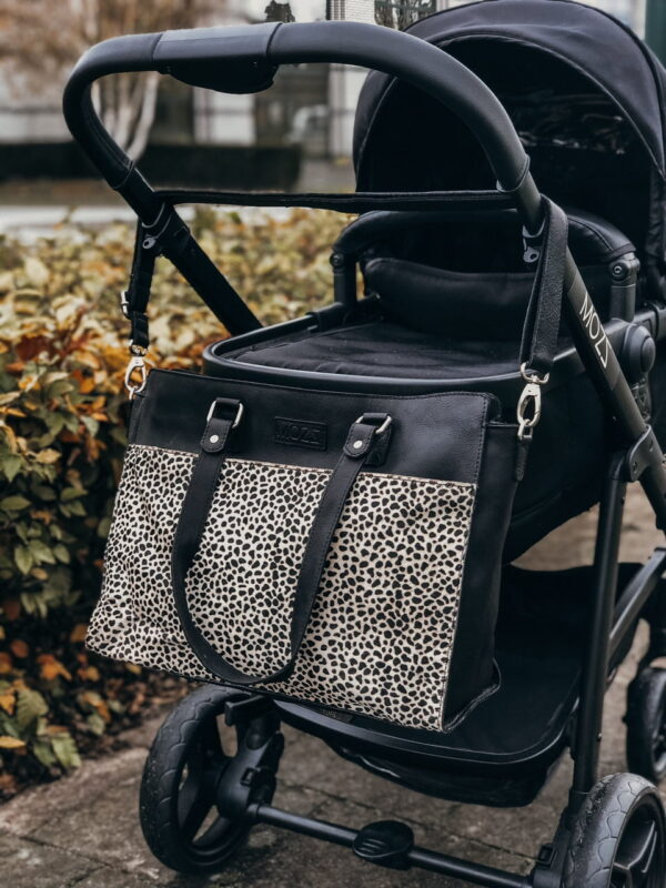 Modern pony hair diaper bag
