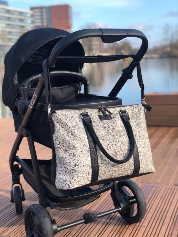 Diaper bag black mini dots reverse Mozz Bags