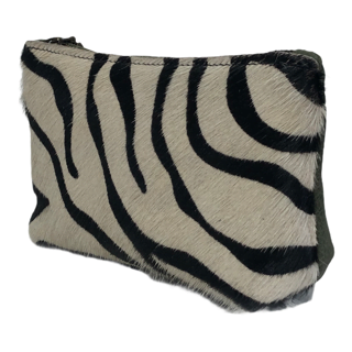 Leather Toiletry Bag Green Zebra