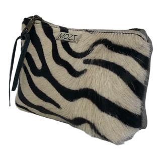Leder Kulturbeutel hellgrau Zebra