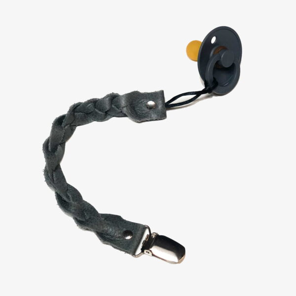 Leather braided pacifier cord