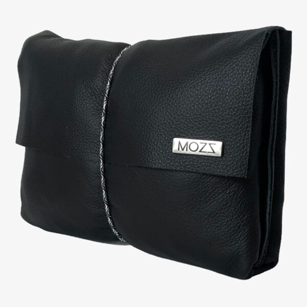 Diaper pouch leather black